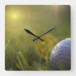 Golf on a Sunny Day Square Wall Clock